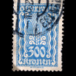 Stock Photo: AUSTRI- CIRC1924: Austripostage stamp showing spike in center of nominal value of 300 kronen, circ1924