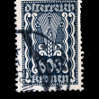 Stock Photo: AUSTRI- CIRC1924: Austripostage stamp showing spike in center of nominal value of 600 kronen, circ1924
