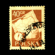 POLAND - CIRCA 1958: A stamp printed in Poland shows backpack and a compass on the background map, circa 1958 — Stock Photo