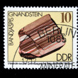 DDR - CIRCA 1985: A stamp printed in DDR (East Germany) shows semiprecious stone Bandjaspis, circa 1985 — Stok fotoğraf