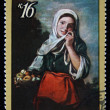 "USSR - CIRCA 1971: A stamp printed in the USSR shows a painting by the artist Bartolome Esteban Murillo ""Girl - fruit seller"", one stamp from series, circa 1971 — Stock Photo #12161053"