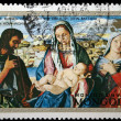 "MONGOLIA - CIRCA 1972: A stamp printed in Mongolia shows draw ""Blessed Virgin with the child, Saint John Batista and a Holy Woman"" by Bellini, circa 1972 — Stock Photo"
