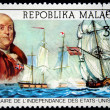 REPUBLICA MALAGASY - CIRCA 1976: A stamp printed in Madagascar shows Benjamin Franklin and and ships Millern and Montgomery, circa 1976 — Stock Photo