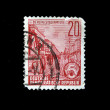 DDR - CIRCA 1940s-1950s: A stamp prunted in DDR (East Germany) shows Stalinallee in Berlin, circa 1940s-1950s — Stock Photo