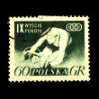 POLAND - CIRCA 1955: A stamp printed in Poland shows bicycler, circa 1955 — Stock Photo