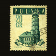 POLAND - CIRCA 1937: A stamp printed in Poland shows view of Biecz, circa 1937 — Stock Photo