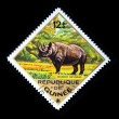 GUINEA - CIRCA 1975: A stamp printed in Guinea shows Black Rhinoceros - Diceros bicornis, circa 1975 — Stock Photo