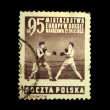 POLAND - CIRCA 1953: A stamp printed in Poland shows boxing, circa 1953 — Stock Photo