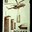 POLAND - CIRCA 1976: A stamp printed in Poland shows Building Helicopter, circa 1976 — Stock Photo