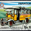 "PARAGUAY - CIRCA 1976: A stamp printed in Paraguay shows bus with the words ""US Mail"", circa 1976 — Lizenzfreies Foto"