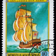 MONGOLIA - CIRCA 1981: A stamp printed in the Mongolia shows captain James Cook ship, one stamp from series, circa 1981 — Stock Photo