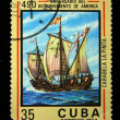 Royalty-Free Stock Photo: CUBA-CIRCA 1982: A stamp printed in Cuba shows Carabela La Pinta, circa 1982