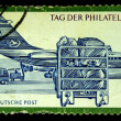 DDR - CIRCA 1970s: A stamp printed in DDR (East Germany) shows cargo airplane, circa 1970s — Stock Photo