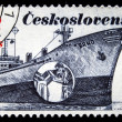 CZECHOSLOVAKIA - CIRCA 1989: A stamp printed in Czechoslovakia shows the container ship Trinec, named after the town in Czechoslovakia, circa 1989. — Stock Photo