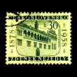 CZECHOSLOVAKIA - CIRCA 1958: A stamp printed in Czechoslovakia, shows building, devoted to 80th anniversary of the birth of Zdenek Nejedly, restorer of castle Litomysl, circa 1958 - Stockfoto