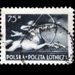 POLAND - CIRCA 1958: A stamp printed in Poland shows centaur, circa 1958 — Stock Photo