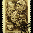 HUNGARY - CIRCA 1951: A stamp printed in Hungary shows children of different races, circa 1951 — Stock Photo