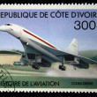 Stock Photo: COTE D IVOIRE - CIRC1971: stamp printed in Cote d Ivoire shows Concord, series devoted history of aviation, circ1971