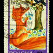 POLAND - CIRCA 1968: A stamp printed in Poland shows crow and the fox, circa 1968 — Stock Photo