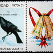 CUBA - CIRCA 1970: A stamp printed in Cuba shows the Bird Cuban Blackbird - Dives atroviolaceus, stamp is from the series, circa 1970 — Stock Photo #12161545