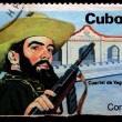 Stock Photo: CUB- CIRC1984: stamp printed in Cubshows Cubrevolutionary with gun against barracks, circ1984