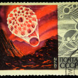 Stock Photo: USSR - CIRC1972: stamp printed in USSR devoted 15 years of space age, circ1972