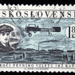 CZECHOSLOVAKIA - CIRCA 1959: A stamp printed in Czechoslovakia honoring 50 years of first flight by Engineer Kaspar, circa 1959 — Stock Photo