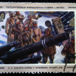 Stock Photo: USSR - CIRC1975: stamp printed in USSR shows draw by artist Eugene Lanceray - soldiers near captured guns, circ1975