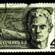 Stock Photo: USSR - CIRC1968: stamp printed in USSR devoted ever enrolled in lists of military unit deputy political instructor P.Gutchenko, circ1968