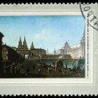 Постер, плакат: USSR CIRCA 1972: A stamp printed in the USSR shows a painting by the artist Fedor Alekseev View to Voskresensk and Nikolskie gates in Moskow one stamp from series circa 1972