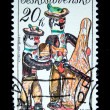 CZECHOSLOVAKIA - CIRCA 1978: A stamp printed in Czechoslovakia shows Figurine of musicians, circa 1978 — Stock Photo