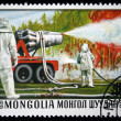Stock Photo: MONGOLIA- CIRC1977: stamp printed in Mongolishows firetruck, series, circ1977