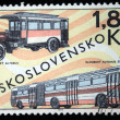 CZECHOSLOVAKIA - CIRCA 1969: a stamp printed by Czechoslovakia shows old buses, circa 1969 - Stock Photo