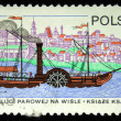 POLAND - CIRCA 1979: A stamp printed in the Poland shows first steame vessel on Wisla river, circa 1979 — Foto Stock