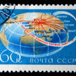 USSR - CIRC1968: stamp printed in USSR shows flight routes worlds first passenger jet TU-114, series, circ1968 — Stock Photo #12165117
