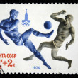 USSR - CIRCA 1979: A stamp printed in USSR, Olympic games Moscow 1980 soccer football, circa 1979 — 图库照片