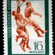 USSR - CIRCA 1970: A stamp printed in the USSR shows fottball players, circa 1970 — Stock Photo