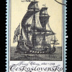 CZECHOSLOVAKIA - CIRCA 1976: A stamp printed in Czechoslovakia shows sailing ship, circa 1976 — Stock Photo #12165165