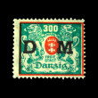 DANZIG - CIRCA 1923: A postage stamp printing in free city of Danzig (later Germany, now Gdansk, Poland) shows coat of arms of city, circa 1923 - Stock Photo