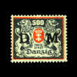 DANZIG - CIRCA 1923: A postage stamp printing in free city of Danzig (later Germany, now Gdansk, Poland) shows coat of arms of city, circa 1923 — Stock Photo