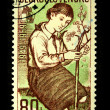 CZECHOSLOVAKIA - CIRCA 1959: A stamp printed in Czechoslovakia shows girl-pioneer tree planting, circa 1959 — Stock Photo
