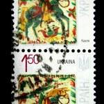 UKRAINE - CIRCA 2009: Postage stamp printed in Ukraine, picture by contemporary ukrainian artist Natalia Fandikova, tile material, circa 2009 — Stock Photo #12165237
