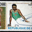 Stock Photo: GUINE- CIRC1968: stamp printed in Guineshows gymnast on Pommel horse, series devoted to Olympic games in Mexico, circ1968