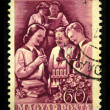 HUNGARY - CIRCA 1951: A stamp printed in Hungary shows pioneers, circa 1951 — Stock Photo
