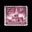 UNITED STATES OF AMERICA - CIRCA 1954: A stamp printed in USA shows Independence Hall, circa 1954 — Stock Photo #12165448
