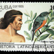 Stock Photo: CUB- CIRC1987: stamp printed in Cubshows Indians Lempirfrom Honduras and bird Cinnamon-bellied Flowerpiercer - Diglossbaritula, circ1987