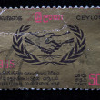 Stock Photo: CEYLON - CIRC1965: stamp printed in Ceylon (present time Sri Lanka) devoted International co-operation year, circ1965