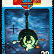 USSR - CIRCA 1978: stamp printed in USSR, shows Space communications, &amp;#039;Orbita&amp;#039; Station and Molnyia satellite, series, circa 1978 - Stock Photo