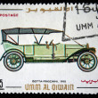 UMM AL QIWAIN - CIRCA 1968: A stamp printed in one of the emirates in the United Arab Emirates shows vintage car Isotta-Franchini - 1910 year, full series - 48 of stamps, circa 1968 — Stock Photo