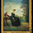 "USSR - CIRCA 1972: A stamp printed in the USSR shows a painting by the artist Jean-Antoine Watteau ""Melancholy"", one stamp from series, circa 1972 — Stock Photo"